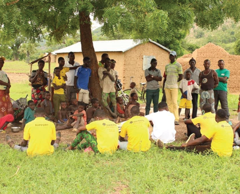 JVE youth take a position in sensitization of locals of Batamariba communities in Northern Togo during the Nation-wide COVID 19 awareness campaign in relation to natural resource use and conservation